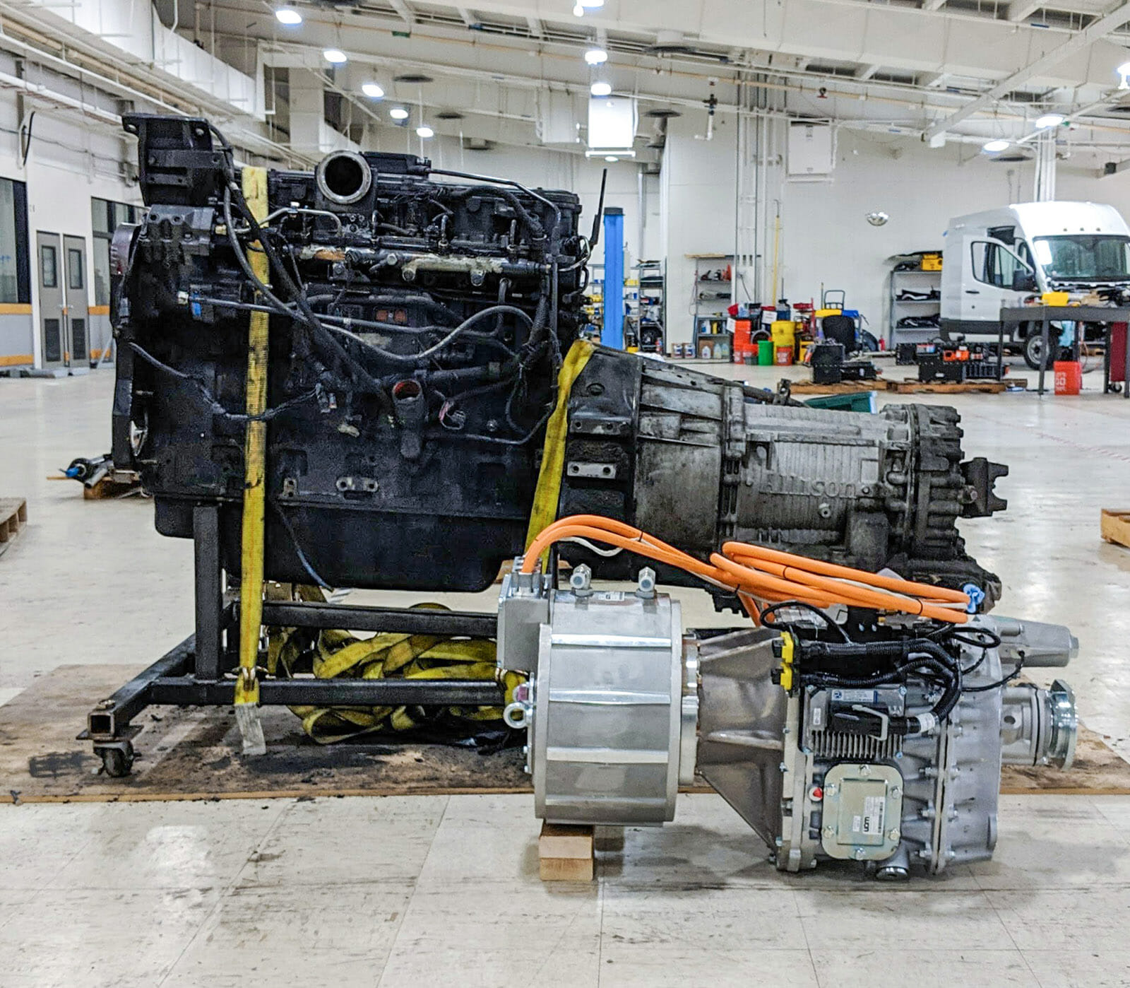 Diesel engine replaced with electric motor