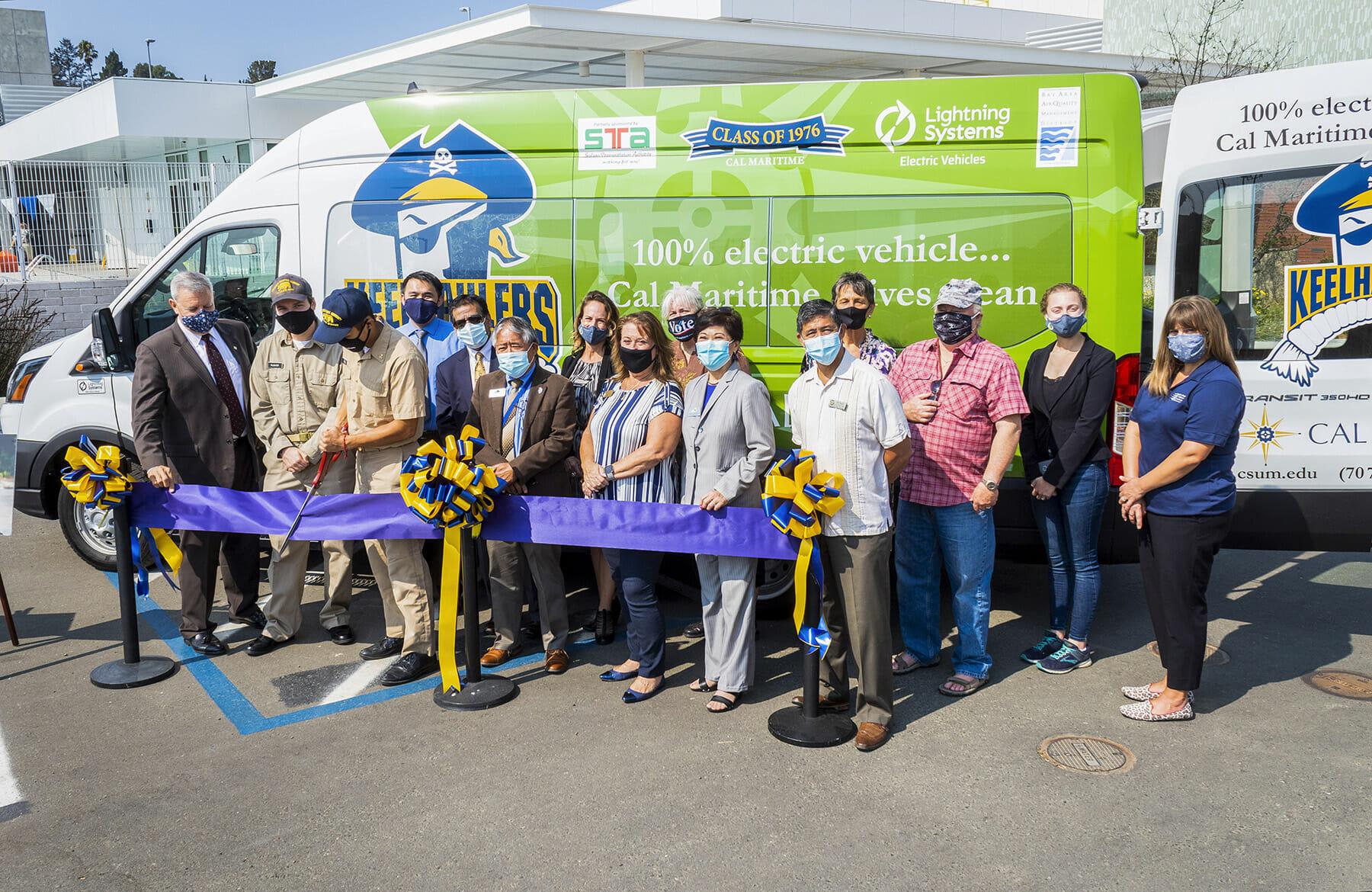 Cal Maritime ribbon-cutting for new electric shuttle van
